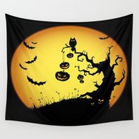 scary Wall Tapestries featuring SCARY HALLOWEEN by Acus