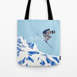 Airborn Skier Flying Down the Ski Slopes Tote Bag