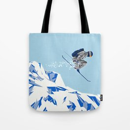 Airborn Skier Flying Down the Ski Slopes Tote Bag
