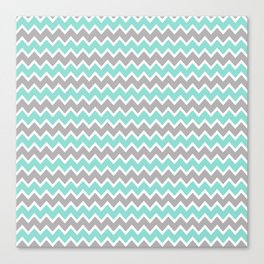 Aqua Turquoise Blue and Grey Gray Chevron Canvas Print