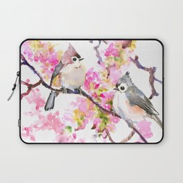 Titmice and Cherry Blossom, spring bird cottage style pink gray design Laptop Sleeve