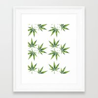 marijuana Framed Art Prints featuring Marijuana Leaves  by Limitless Design
