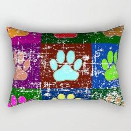 Distressed Dog Paws In Squares Rectangular Pillow