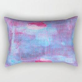 Crimson Clover, Abstract Monoprint Painting Rectangular Pillow