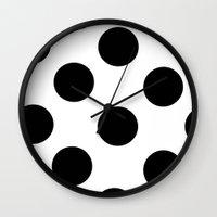 polka dot Wall Clocks featuring Polka Dot by JiaMiin Berglund