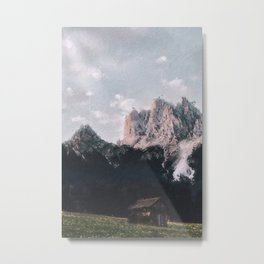 Litle Cabin lost at in a grass field at the top of the moutains - Dolomites Italy Metal Print