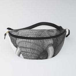 Bull elephant - Drawing in pencil Fanny Pack