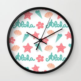 summer pattern background with hand drawn lettering aloha word, seashells, starfishes and flowers Wall Clock