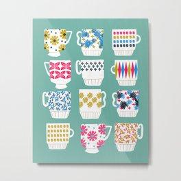 Vintage Teacups - Mid Century, Retro Teacups in pop colors by Andrea Lauren Metal Print