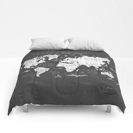 The World Map B/W Comforters