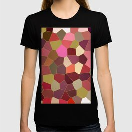 Red and Gold Festive Dazzle Stained Glass Abstract T-shirt