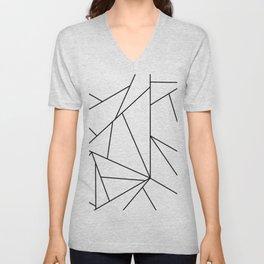 Abstract Modern Black White Trendy Geometrical Unisex V-Neck