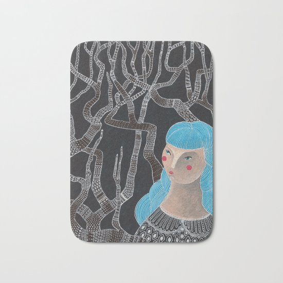 Lady in the woods Bath Mat