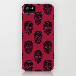 Human Skulls Pattern Red iPhone Case