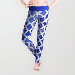 Watercolor Diamonds in Cobalt Blue Leggings
