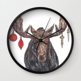 Moose with Baubles Wall Clock