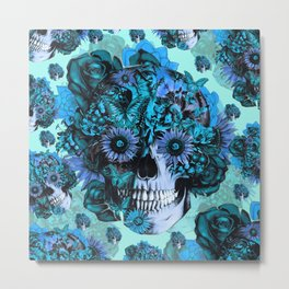 Full circle...Floral ohm skull pattern Metal Print