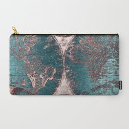 Antique World Map Pink Quartz Teal Blue by Nature Magick Carry-All Pouch