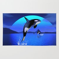 orca Area & Throw Rugs featuring Orca by Simone Gatterwe