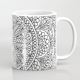 Mandala Heart with Flowers and Leaves for Adult Coloring Coffee Mug