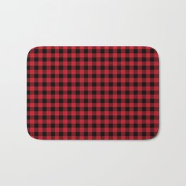 Plaid pattern red and black minimal modern cabin rustic decor nature inspired themed decor Bath Mat