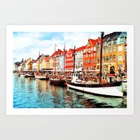 denmark Art Prints featuring Copenhagen, Denmark by Philippe Gerber