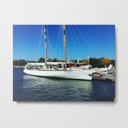 Boats at the Chelsea Pier  Metal Print