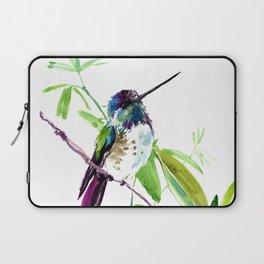 Hummingbird and Green Foliage, tropical green design Laptop Sleeve