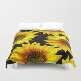 Large Sunflowers on a black background - #Society6 #buyart Duvet Cover
