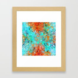 psychedelic geometric circle pattern and square pattern abstract in orange and blue Framed Art Print