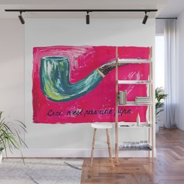 This is Not a Magritte: Pipe Pink and Green Surrealist Painting Wall Mural