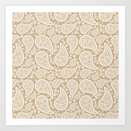 Paisley (White & Tan Pattern) Art Print