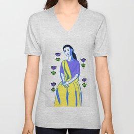 Indian inspired lady Unisex V-Neck