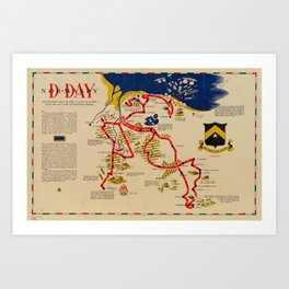 Vintage Omaha Beach D-Day Invasion Map (1945) Art Print