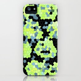 Cell Print Home Decor Graphic Design Pastel Colors Green Grey Blue Black Mint Lime Kiwi iPhone Case