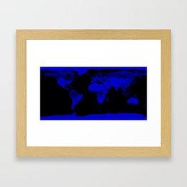 worlD Map Blue & Black Framed Art Print