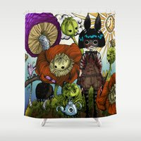 monster inc Shower Curtains featuring Wonderland Inc by Li Boggs