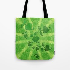 Vine leaves on green kaleidoscope Tote Bag