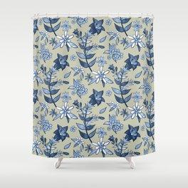 Monochrome Tan and Blue Alpine Flora Shower Curtain