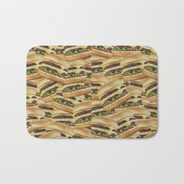 Vintage Cheeseburger Pile Print Bath Mat