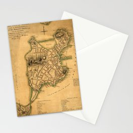 Map Of Boston 1775 Stationery Cards