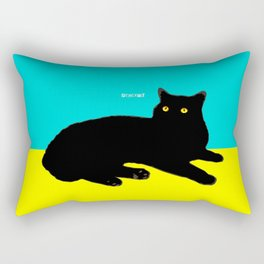 Black Cat on Yellow and Sky Blue Rectangular Pillow