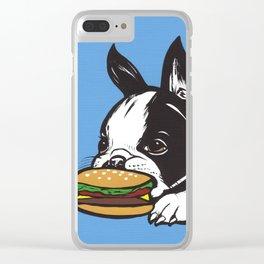 Cheeseburger Boston Terrier Clear iPhone Case