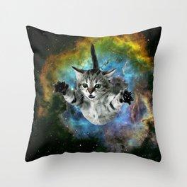 Galaxy Cat Universe Kitten Launch                                                 Throw Pillow