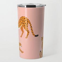 Cheetahs pattern on pink Travel Mug