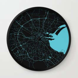 Dublin Ireland Black on Turquoise Street Map Wall Clock