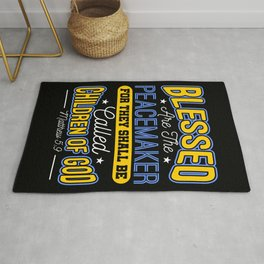 Blessed Are The Peacemakers Police Officer Cop Rug