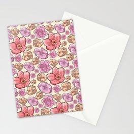 Modern botanical blush pink coral pastel yellow floral illustration Stationery Cards