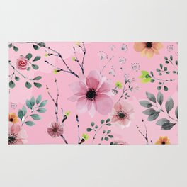 Watercolor Flowers XIII (different flowers) Rug
