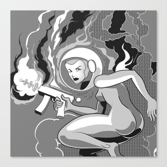 Space Girl with a Gun Canvas Print